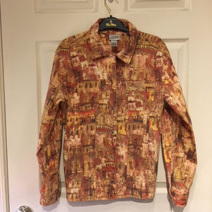 Chico's 0 Jacket, Amber, Rust, Cream, Italian Arch